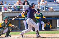 Cedar Rapids Kernels second baseman Travis Blankenhorn (7) swings at a pitch during a Midwest League game against the Beloit Snappers on September 3, 2017 at Pohlman Field in Beloit, Wisconsin. Beloit defeated Cedar Rapids 3-2. (Brad Krause/Four Seam Images)