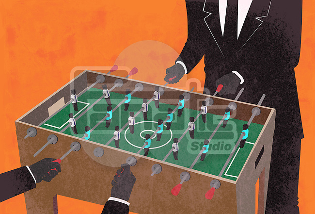 Illustrative image of two businessmen playing foosball