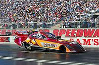 Oct. 30, 2011; Las Vegas, NV, USA: NHRA funny car driver Melanie Troxel during the Big O Tires Nationals at The Strip at Las Vegas Motor Speedway. Mandatory Credit: Mark J. Rebilas-
