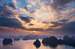 Vietnam's Ha Long Bay is one of the most dramatic landscapes in all of southeast Asia. Karst mountains and rocky pinnacles rise dramatically out of the bay. Ha Long Bay, Vietnam
