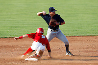 August 16, 2009:  Shortstop Carmen Angelini of the Staten Island Yankees attempts to turn a double play as Alan Ahmady slides in during a game at Dwyer Stadium in Batavia, NY.  Staten Island is the Short-Season Class-A affiliate of the New York Yankees.  Photo By Mike Janes/Four Seam Images