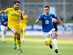 St Johnstone v Falkirk…24.07.18…  McDiarmid Park    Betfred Cup<br />Stefan Scougall and former saint Paul Paton<br />Picture by Graeme Hart. <br />Copyright Perthshire Picture Agency<br />Tel: 01738 623350  Mobile: 07990 594431