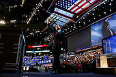 Boston Mass..USA.July 28, 2004..The Democratic National Convention in the Fleetcenter. Dennis Kucinich, U.S. Representative from Ohio addresses the crowd..