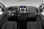 Stock photo of straight dashboard view of a 2019 Ford Transit Wagon 150 XLT Wagon Med Roof Sliding Pass. 130 5 Door Passenger Van