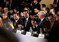 BOGOTÁ – COLOMBIA, 24-02-2019: Juan Guaidó, Presidente interino de Venezuela, y Mike Pence Vicepresidente de Estados Unidos de América, durante la 11ª reunión de Ministros de Relaciones Exteriores del Grupo de Lima en Bogotá, Colombia. El grupo de 14 miembros de Lima, que incluye a la mayoría de los paises latinoamericanos. Es la primera reunión en la que Venezuela participará como miembro del grupo de Lima, representado por el presidente interino Juan Guaido. / Juan Guaidó, President Acting of Venezuela, and Mike Pence Vice President of the United States of America, during the 11th Lima Group Foreign Ministers meeting in Bogota, Colombia. The 14-member Lima Group, which includes most Latin American. It is first meeting in which Venezuela will participate as a member of the Lima group, represented by the Acting President Juan Guaido. Photo: VizzorImage / Luis Ramírez / Staff.
