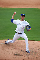 Dunedin Blue Jays pitcher Conner Greene (13) delivers a pitch during the first game of a doubleheader against the Palm Beach Cardinals on July 31, 2015 at Florida Auto Exchange Stadium in Dunedin, Florida.  Dunedin defeated Palm Beach 7-0.  (Mike Janes/Four Seam Images)