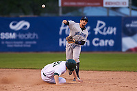 Lake County Captains second baseman Daniel Schneemann (15) turns a double play in front of Nick Osborne (21) during a Midwest League game against the Beloit Snappers at Pohlman Field on May 6, 2019 in Beloit, Wisconsin. Lake County defeated Beloit 9-1. (Zachary Lucy/Four Seam Images)