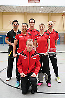 Qamar Khan, Kimjhin Hossain, Florian Bernhard-Kolbe, Julian Hofmann (vorn), Annika Horbach, Antonio Morsi (vlnr) - Mörfelden-Walldorf 09.02.2020: RW Walldorf Badminton