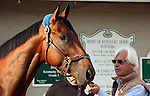 May 03, 2015 American Pharoah greeted fans and media the day after winning the 141st Kentucky Derby at Churchill Downs in Louisville, Kentucky.  He is shown here getting a carrot from trainer Bob Baffert. The sign behind him lists Baffert's three previous Kentucky Derby winners; after American Pharoah's win, he will need a new barn sign. ©Mary M. Meek/ESW/CSM