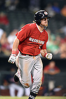 Oklahoma City RedHawks third baseman Jonathan Meyer (23) runs to first during a game against the Memphis Redbirds on May 23, 2014 at AutoZone Park in Memphis, Tennessee.  Oklahoma City defeated Memphis 12-10.  (Mike Janes/Four Seam Images)