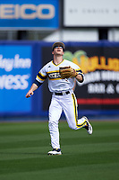 Michigan Wolverines left fielder Matt Ramsay (46) tracks a fly ball during the first game of a doubleheader against the Canisius College Golden Griffins on June 20, 2016 at Tradition Field in St. Lucie, Florida.  Michigan defeated Canisius 6-2.  (Mike Janes/Four Seam Images)