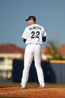 Pensacola Blue Wahoos pitcher Ben Klimesh (22) gets ready to deliver a pitch during the second game of a double header against the Biloxi Shuckers on April 26, 2015 at Pensacola Bayfront Stadium in Pensacola, Florida.  Pensacola defeated Biloxi 2-1.  (Mike Janes/Four Seam Images)
