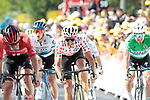 """The chasing pack featuring Michael Matthews (AUS) Team Sunweb, Jasper Stuyven (BEL) Trek-Segafredo and Greg Van Avermaet (BEL) CCC Team cross the finish line 26"""" down at the end of Stage 3 of the 2019 Tour de France running 215km from Binche, Belgium to Epernay, France. 8th July 2019.<br /> Picture: Colin Flockton 