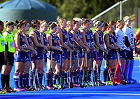 The USA team lines up for the women's match between Japan and USA at the 2017 Hawkes Bay Cup tournament at Hawkes Bay Sports Park in Hastings, New Zealand on Thursday, 6 April 2017. Photo: Dave Lintott / lintottphoto.co.nz