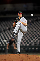 Scottsdale Scorpions relief pitcher Graham Spraker (9), of the Toronto Blue Jays organization, during an Arizona Fall League game against the Mesa Solar Sox on September 18, 2019 at Sloan Park in Mesa, Arizona. Scottsdale defeated Mesa 5-4. (Zachary Lucy/Four Seam Images)