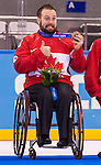 Sochi, RUSSIA - Mar 15 2014 - Billy Bridges after receiving his Bronze medal in Sledge Hockey at the 2014 Paralympic Winter Games in Sochi, Russia.  (Photo: Matthew Murnaghan/Canadian Paralympic Committee)