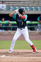 Center fielder Alexfri Planez (33) of the Lynchburg Hillcats in a game against the Delmarva Shorebirds on Wednesday, August 11, 2021, at Bank of the James Stadium in Lynchburg, Virginia. (Tom Priddy/Four Seam Images)