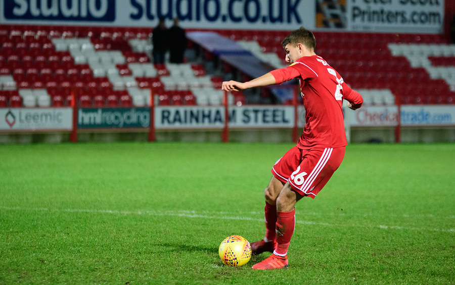 Accrington Stanley's Dan Barlaser misses during the penalty shoot out<br /> <br /> Photographer Andrew Vaughan/CameraSport<br /> <br /> The EFL Checkatrade Trophy Second Round - Accrington Stanley v Lincoln City - Crown Ground - Accrington<br />  <br /> World Copyright © 2018 CameraSport. All rights reserved. 43 Linden Ave. Countesthorpe. Leicester. England. LE8 5PG - Tel: +44 (0) 116 277 4147 - admin@camerasport.com - www.camerasport.com