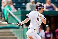 Kevin Medrano (13) of the Missouri State Bears follows through his swing during a game against the Evansville Purple Aces at Hammons Field on May 12, 2012 in Springfield, Missouri. (David Welker/Four Seam Images)
