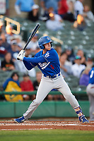 Rancho Cucamonga Quakes left fielder Logan Landon (6) at bat during a California League game against the Stockton Ports at Banner Island Ballpark on May 16, 2018 in Stockton, California. Rancho Cucamonga defeated Stockton 6-3. (Zachary Lucy/Four Seam Images)
