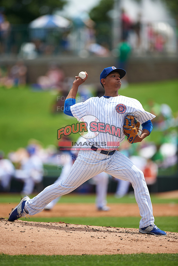 South Bend Cubs starting pitcher Adbert Alzolay (29) during the first game of a doubleheader against the Peoria Chiefs on July 25, 2016 at Four Winds Field in South Bend, Indiana.  South Bend defeated Peoria 9-8.  (Mike Janes/Four Seam Images)