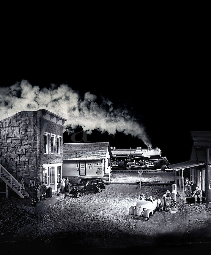 Photocomposition of miniature railroading scene at night in black white. Houston, Texas.