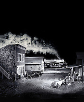Photocomposition of miniature railroading scene at night in black white. Houston, Texas.