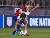 EAST HARTFORD, CT - JULY 1: Samantha Mewis #3 of the USWNT fights for the ball with Jimena Lopez #5 of Mexico during a game between Mexico and USWNT at Rentschler Field on July 1, 2021 in East Hartford, Connecticut.