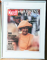BNPS.co.uk (01202 558833)<br /> Pic: PhilYeomans/BNPS<br /> <br /> This design for the Queen appeared on the cover of Paris Match after a Royal visit to France.<br /> <br /> A remarkable 'timewarp' archive amassed by a dressmaker to the Queen has sold for over £100,000.<br /> <br /> The late Ian Thomas meticulously kept his fashion designs, letters, cards and photographs relating to the Queen at his home that was more like a museum. <br /> <br /> He helped design the Queen's coronation gown in 1953 as well as the powder blue outfit she wore for Charles and Diana's wedding in 1981.<br /> <br /> The lifelong bachelor passed away in 1993 and left his home and its contents to a florist he had been good friends with for 25 years.<br /> <br /> After she died in 2015 the property was inherited by a relative who also knew Mr Thomas well.<br /> <br /> She has now sold the contents at auction.