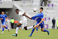 Orlando, Florida - Saturday January 13, 2018: Joao Moutinho has his jersey pulled by Will Bagrou. Match Day 1 of the 2018 adidas MLS Player Combine was held Orlando City Stadium.