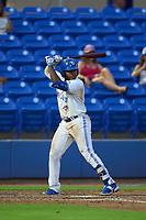 Dunedin Blue Jays Miguel Hiraldo (5) bats during a game against the Bradenton Marauders on June 5, 2021 at TD Ballpark in Dunedin, Florida.  (Mike Janes/Four Seam Images)