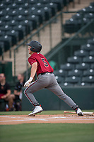 AZL Diamondbacks left fielder Alek Thomas (5) hits a triple during the completion of a suspended Arizona League game against the AZL Angels at Tempe Diablo Stadium on July 16, 2018 in Tempe, Arizona. The game was a continuation of the July 11, 2018 contest that was suspended by rain in the middle of the eighth inning. The AZL Diamondbacks defeated the AZL Angels 12-8. (Zachary Lucy/Four Seam Images)