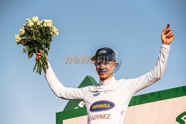 Andreas Lorentz Kron (DEN) Riwal Readynez Cycling Team wears the young riders White Jersey at the end of Stage 2 of the Saudi Tour 2020 running 187km from Sadus Castle to Al Bujairi, Saudi Arabia. 5th February 2020. <br /> Picture: ASO/Kåre Dehlie Thorstad | Cyclefile<br /> All photos usage must carry mandatory copyright credit (© Cyclefile | ASO/Kåre Dehlie Thorstad)