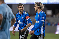 SAN JOSE, CA - MAY 22: Chris Wondolowski #8 of the San Jose Earthquakes encourages Cade Cowell #44 of the San Jose Earthquakes during a game between San Jose Earthquakes and Sporting Kansas City at PayPal Park on May 22, 2021 in San Jose, California.