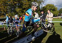 03 NOV 2012 - IPSWICH, GBR - Michael Vanthourenhout (BEL) of Belgium clears a hurdle during the Under 23 Men's European Cyclo-Cross Championships in Chantry Park, Ipswich, Suffolk, Great Britain (PHOTO (C) 2012 NIGEL FARROW)