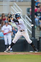 Danny Mendick (1) of the Kannapolis Intimidators avoids an inside pitch against the Asheville Tourists at Intimidators Stadium on May 28, 2016 in Kannapolis, North Carolina.  The Intimidators defeated the Tourists 5-4 in 10 innings.  (Brian Westerholt/Four Seam Images)