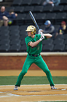 John Arndorfer (13) of the Notre Dame Fighting Irish at bat against the Wake Forest Demon Deacons at David F. Couch Ballpark on March 10, 2019 in  Winston-Salem, North Carolina. The Demon Deacons defeated the Fighting Irish 7-4 in game one of a double-header.  (Brian Westerholt/Four Seam Images)