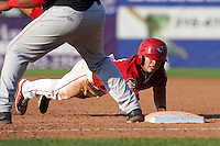 Auburn Doubledays second baseman Dalton Dulin (4) dives back to first on a pickoff attempt throw during a game against the Batavia Muckdogs on September 7, 2015 at Falcon Park in Auburn, New York.  Auburn defeated Batavia 11-10 in ten innings.  (Mike Janes/Four Seam Images)