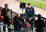 St Johnstone Training…16.05.17<br />Saints manager Tommy Wright being interviewed by Eilidh Barbour from BT Sport<br />Picture by Graeme Hart.<br />Copyright Perthshire Picture Agency<br />Tel: 01738 623350  Mobile: 07990 594431