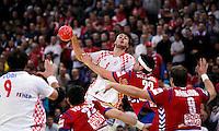 Domagoj Duvnjak (C) of Croetia passes the ball during men`s EHF EURO 2012 championship semifinal handball game between Serbia and Croatia in Belgrade, Serbia, Friday, January 27, 2011.  (photo: Pedja Milosavljevic / thepedja@gmail.com / +381641260959)