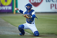 Burlington Royals catcher William Hancock (7) warms up the starting pitcher in the bullpen prior to the game against the Pulaski Yankees at Burlington Athletic Stadium on August 25, 2019 in Burlington, North Carolina. The Yankees defeated the Royals 3-0. (Brian Westerholt/Four Seam Images)