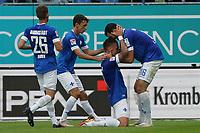 celebrate the goal, Torjubel zum 2:0 von Phillip Tietz (SV Darmstadt 98) mit Luca Pfeiffer (SV Darmstadt 98), Matthias Bader (SV Darmstadt 98)<br /> <br /> - 28.08.2021 Fussball 2. Bundesliga, Saison 21/22, SV Darmstadt 98 vs Hannover 96, Stadion am Boellenfalltor, emonline, emspor, <br /> <br /> Foto: Marc Schueler/Sportpics.de<br /> Nur für journalistische Zwecke. Only for editorial use. (DFL/DFB REGULATIONS PROHIBIT ANY USE OF PHOTOGRAPHS as IMAGE SEQUENCES and/or QUASI-VIDEO)