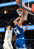 WASHINGTON, DC - FEBRUARY 05: Jagan Mosely #4 of Georgetown defends on a shot by Jared Rhoden #14 of Seton Hall during a game between Seton Hall and Georgetown at Capital One Arena on February 05, 2020 in Washington, DC.