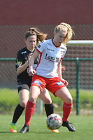 Laura Vervacke (20) of Zulte Waregem and Taika De Koker (16) of Woluwe  pictured during a female soccer game between SV Zulte - Waregem and White Star Woluwe on the 10 th and last matchday in play off 2 of the 2020 - 2021 season of Belgian Scooore Womens Super League , saturday 29 of May 2021  in Zulte , Belgium . PHOTO SPORTPIX.BE | SPP | DIRK VUYLSTEKE