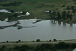 De natuur in Vrijstaat Zuid-Afrika vanuit de lucht gezien.