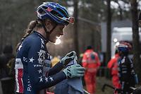 Katie Compton (USA/KFC Racing p/b Trek/Panache) post race.<br /> <br /> <br /> women's elite race<br /> Lampiris Zilvermeercross Mol / Belgium 2017
