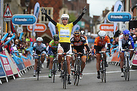 Picture by Alex Broadway/SWpix.com - 11/05/2014 - Cycling - The Friends Life Women's Tour 2014 - Stage 5: Harwich to Bury St. Edmunds  - Marianne Vos of Rabo Liv celebrates as she crosses the line to win Stage 5.