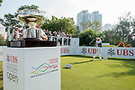 Marcus Fraser of Australia tees off the first hole while the Trophy is on display during the 58th UBS Hong Kong Golf Open as part of the European Tour on 11 December 2016, at the Hong Kong Golf Club, Fanling, Hong Kong, China. Photo by Marcio Rodrigo Machado / Power Sport Images
