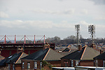 Barnsley 1 Millwall 0, 22/02/2014. Oakwell, Championship. Millwall make the journey from south London to South Yorkshire for a Championship relegation battle with Barnsley. Houses on Belgrave Road with Traditional floodlights and Oakwell's the West Stand on the skyline. Photo by Simon Gill.