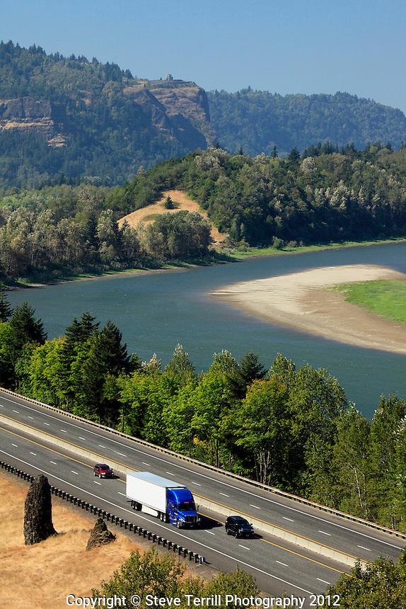 Trucks on I-84 in Columbia River Gorge Oregon